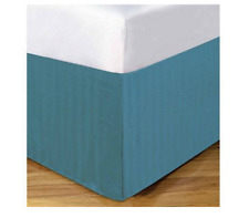 DreamSpace Microfiber Damask Stripe 14in Bedskirt California King Dusty Blue New