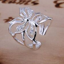 beautiful Fashion solid silver Pretty cute Crystal butterfly Ring jewelry hot