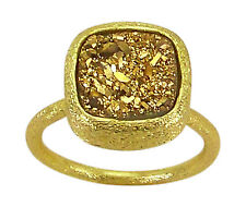Betty Carre Adjustable Ring in Gold Plating and Square Golden Druzy bcra136