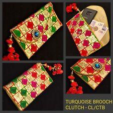 Designer Wedding Gold Sequin Retro Bag Indian Bridal Envelope Clutch Mobile Case