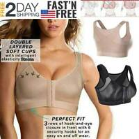 Women Posture Corrector Front Closure Wireless Back Support Bra Top Yoga Shapers