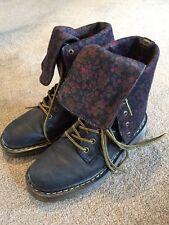 """Dr. Martens """"Aleina"""" Black Leather W/Floral Flap Combat Boots Women's Size 7"""