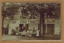 Carte Photo vintage card RPPC restaurant traiteur vins billard métier bt009