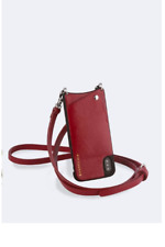Emma Crossbody Bandolier - Pebble Leather - Crimson/Silver- For iphone 8+/7+/6+