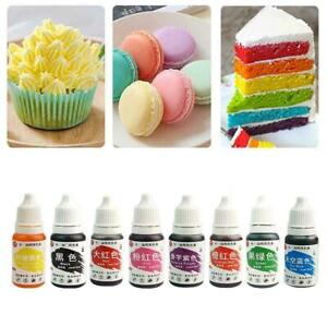 10ml Concentrated Edible Liquid Droplet Sugar Tint Cake Food Decor R3Z5