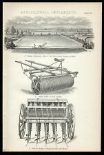 AGRICULTURAL IMPLEMENTS 1883 Steam Cultivation Fluted Roller LITHOGRAPH #4