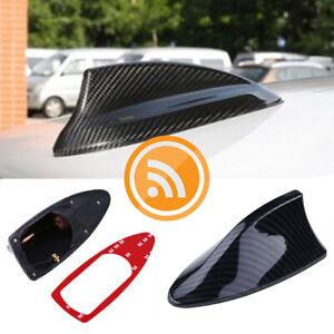 Carbon Fiber Black Shark Fin Car Exterior FM/AM Antenna Aerial Radio Signal