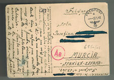 1942 Germany Blue Division Soldier Russian Front WW 2 Feldpost Cover to Spain