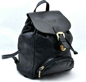 Authentic VERSACE Backpack Leather Black A0937