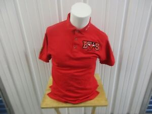 VINTAGE NBA CHICAGO BULLS JORDAN/MASCOT MEDIUM RED SEWN POLO COLLAR SHIRT 90s