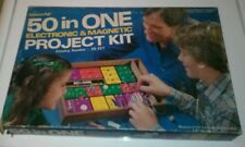 "1980s Radio Shack ""Science Fair 50 in One Electronic & Magnetic Project Kit""."