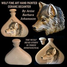 Wolf Fine Art Decanter With Hand Painted 3D Head Study Art By Barbara Johansson
