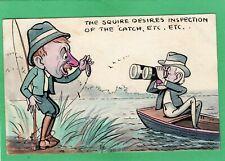 More details for  comic humour fishing hand painted j e tasker 1911  pc  ak39