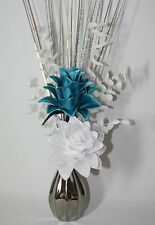 Artificial Flowers - Teal & White Silk Dragon Flower Arrangement in Silver Vase.