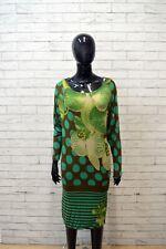 DESIGUAL Vestito Donna Taglia M Abito Maglia Lunga Tubino Verde Dress Women's