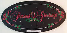 "BRAND NEW-""Season's Greetings""OVAL SHAPED CHALKBOARD SIGN-Two Sided-17 1/2"" X 9"""