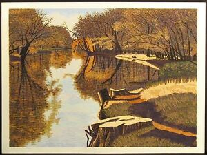 """Gordon Mortensen """"October On The Sioux"""" Hand Signed Woodcut Reduction Art Print"""