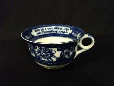 "RARE ENGLISH FLOW BLUE LARGE CUP w/ ""AULD LAND SYNE"" SCOTTISH POEM, c. 1900"