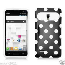 LG Optimus L9 T-Mobile P769 Hybrid Case Skin Pastel Cover Black White Dots