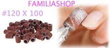 100 Embouts Manchons #120 Grain Moyen 120 Ponceuse Emeri Rouleaux Lime Ongle