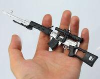 "1/6 Weapon Model Silver White SVD Dragunov Sniping Rifle Gun F 12"" Action Figure"