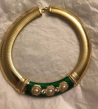 VINTAGE CHRISTIAN DIOR PARIS FAUX GOLD AND DIAMOND NECKLACE GREEN ENAMEL