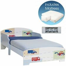 TODDLER BED BOYS VEHICLES 18 MONTHS + UP TO 5 YEARS + FULLY SPRUNG MATTRESS