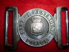 Canadian City of Westmount Police Belt Buckle, obsolete, Maker Marked, Pre 1950