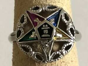10 K Solid White Gold Eastern Star ring size 6.25 with 5 Colored Stones, 3.3 Gr.
