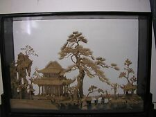 "LARGE Vintage Asian Black Lacquer Chinese Diorama Pogoda Scene~Cork~10""h x 15""w"