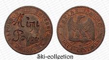 2 Centimes 1856 Napoléon III°. Surfrappe MIMI POUPÉE (Maison close?)