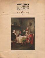 Vintage MANNY WOLF'S CHOP HOUSE Drink Menu New York City