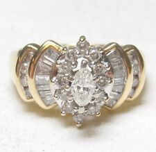 Marquise Cut Diamond Ring .75 Cts Total Estate $3000 14K Yellow Gold .20 Ct