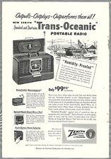 1950 ZENITH TRANS-OCEANIC Radio advertisement, Zenith Trans-Oceanic shortwave