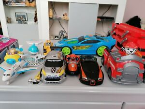 Bundle Plastic Toy Cars Paw Patrol car transporter And Others X 12