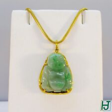 Brand New Carved Green Jade Buddha Pendant in 14k Yellow Gold