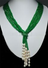 """AAA 50"""" 3 Strands Natural 4mm Green Emerald Freshwater Pearl Necklaces"""