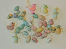 Vintage Miniature Easter Egg & Bird Ornaments Painted Wood Lot of 34