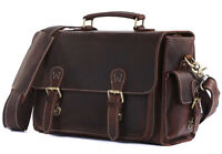 Men's Genuine Leather DSLR Camera Bag Messenger Shoulder Bag Cross Body Carry On