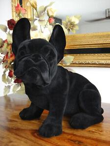 Deko Figur Französische Bulldogge 24 cm Mops Luxus Statue Skulptur Samt Hund NEU