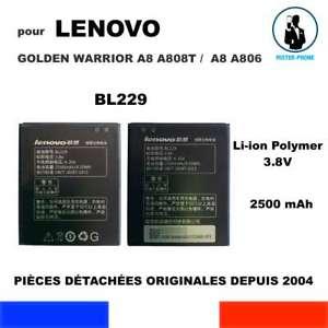 BATTERIE ORIGINE OEM BL229 POUR LENOVO GOLDEN WARRIOR A8 A806 A808T 2500mAh 3,8V