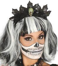 Ladies Skull Black Leaf Headband Halloween Tiara Fancy Dress Costume Accessory