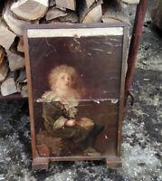 Holzständer mit einem Plakat aus dem 19th Jahrundert - Kaminschirm