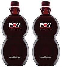 Lot of 2 Bottles POM Wonderful 100% Pomegranate Juice LARGE 60 Fl Oz/each