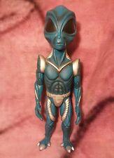 "Vintage 14"" Alien Action Figure Art Toy - Blue & Silver - 1997 R.Marino"