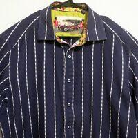 Robert Graham Mens Long Sleeve Button Shirt XL Blue White Stripes Flip Cuff