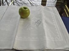 "Vintage Unused Crisp Irish Linen Celtic Damask 64"" Square Tablecloth Monogram Jd"