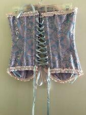 Pink & Blue Sz S Brocade Overbust Lace up Boned Hook Eye Corset w/Satin Trim