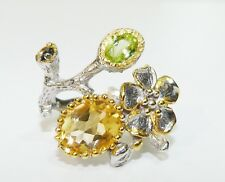 GENUINE 2.75cts! Brazilian Citrine, Peridot & Sapphire Ring Sterling Silver 925