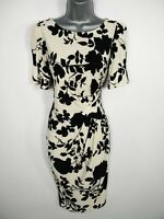 WOMENS M&S COLLECTION BLACK WHITE FLORAL GATHERED SIDE SMART OFFICE DRESS UK 10